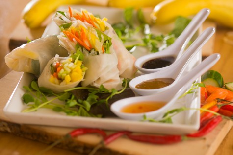 Calitnamese Spring Rolls Served with Dipping Sauces from the Restless Palate Menu