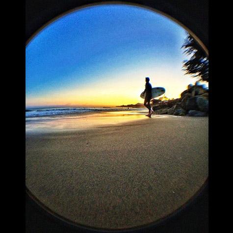 Ok ok... This doesn't get old! #santacruz #sc #sunset #surfer #waves #sand #shortboard #surfsup #beachbum #nightbeachwalks #doesntgetold #homesweethome #fisheye #scsummersnaps