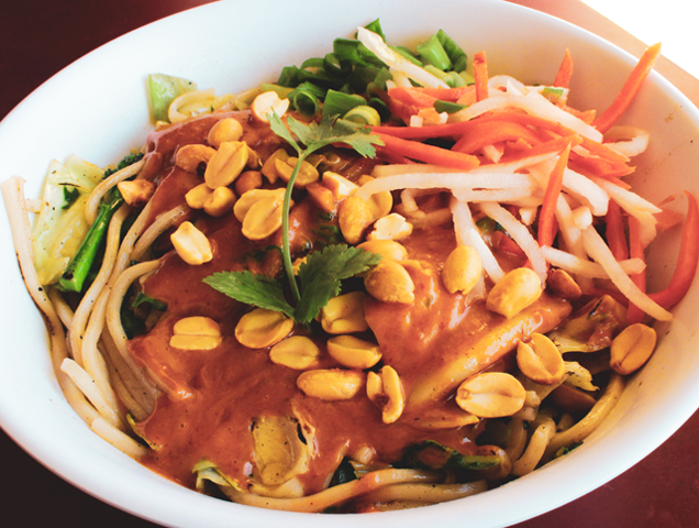 Charlie Hong Kong specializes in organic, fresh, healthy and tasty dishes. They are a local favorite and this dish is called the Spicy Dan - one of their most popular items on the menu.