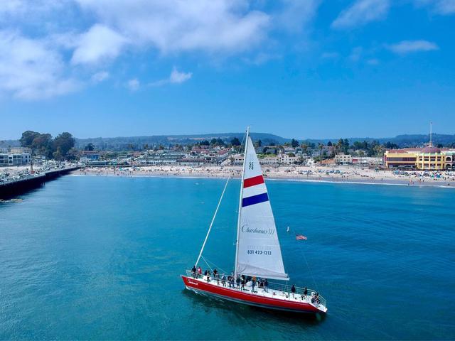 Chardonnay Sailing boat in the Monterey Bay off Santa Cruz coast with blue skies