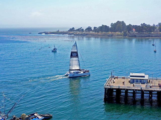 O'Neill Catamaran in the Monterey Bay off Santa Cruz coast with blue skies